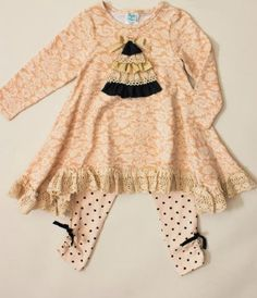 Peaches 'n Cream Glam Tidings Tunic & Legging Set 5 & ONLY (Newly Added). Peaches 'n Cream Glam Tidings Tunic & Legging Set. Girls Christmas Dresses, Tunic Leggings, Shabby Chic Christmas, Baby Pants, Cute Baby Clothes, Peaches, Boy Outfits, Romper, Bell Sleeve Top