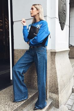 all blue outfits jeans sweatshirt