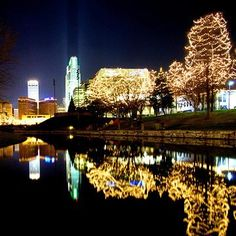 Christmas lights in Omaha, one of our 10 top Christmas shopping getaway destinations!