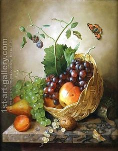 A Basket of grapes and apples on a marble ledge by Willem Verbeet - Reproduction Oil Painting Sujets de Peinture Fruit Painting, China Painting, Decoupage, Most Famous Paintings, Still Life Fruit, Polychromos, Painting Still Life, Oil Painting Reproductions, Fruit Art