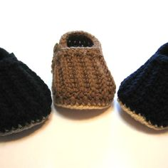 Baby boy loafers.  Crochet baby boy shoes.  Made to order in black, brown or navy blue.  0 to 6 months, 6 to 12 months.  Boys shoes. on Etsy, $21.32