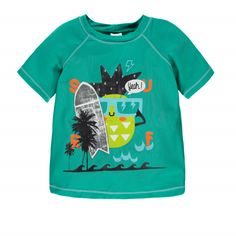 """Little Surfers Short Sleeve """"Rashguard"""" Style Swim T-shirt Dark  Green / T-shirt de bain de type « rashguard » à manches courtes Souris Mini"""