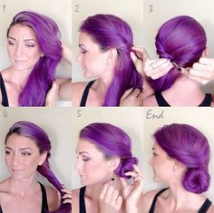 TWISTED SIDE PURPLE UPDO TUTORIAL