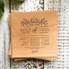Black on wood. Wedding invitation.