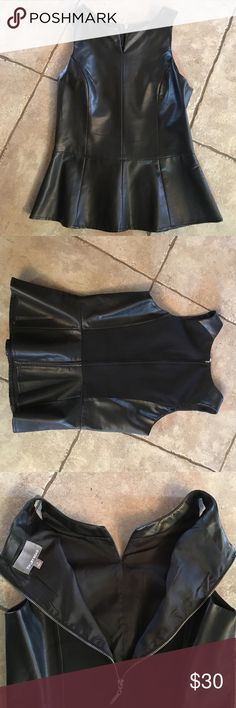 Faux leather replum top Worn one time in new condition. No signs of wear and fully lined. Tinley Road Tops