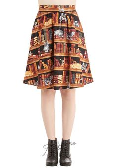 Fun for the Books Skirt - Print with Animals, Novelty Print, Casual, Cats, Nifty Nerd, Critters, A-line, Brown, Pockets, High Waist, Summer, Fall, Cotton, Woven, Better, Brown, Mid-length