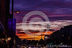 Photo about Traffic on the last day of 2017 under a gorgeous sunset. Image of city, night, travel - 111796911 Austria, Fair Grounds, Europe, Sunset, Night, City, Amazing, Movie Posters, Travel