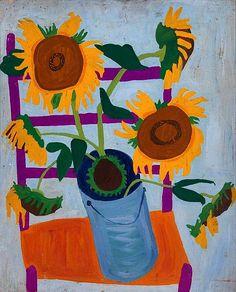 "stilllifequickheart: "" William H. Johnson Still Life: Sunflowers 1944-45 """