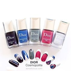 """""""My attempt to translate the true Dior spirit in nail art. Elegant minimalism... What's your favorite design? #diorcosmopolite #sonailiciousdesign"""" Photo taken by @so_nailicious"""
