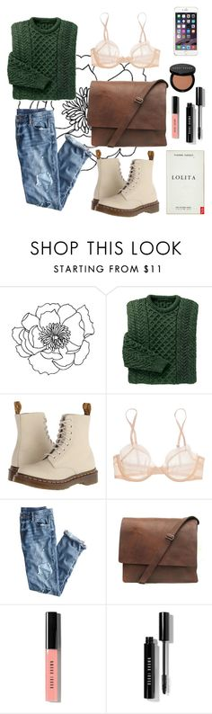 """""""Goner"""" by valeriacc ❤ liked on Polyvore featuring Dr. Martens, Calvin Klein Underwear, J.Crew, Bobbi Brown Cosmetics, Winter, casual, GREEN, Sweater and Earth"""