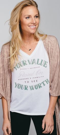 Your value doesn't decrease based on someone's inability to see your worth. || Wear this as a reminder for yourself and for others. You are worthy. You are important. You are loved.