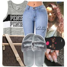 A fashion look from September 2016 featuring Victoria's Secret PINK tops, Puma sandals and MICHAEL Michael Kors shoulder bags. Browse and shop related looks.