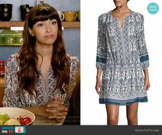 Cece's blue printed split-neck dress on New Girl.  Outfit Details: https://wornontv.net/67490/ #NewGirl