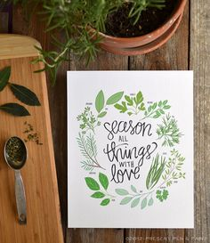 Herbs Illustration Season all Things with Love by penandpaint