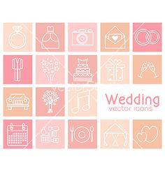 Set of wedding icons vector 4390318 - by photokot on VectorStock®