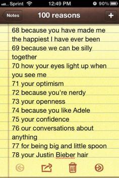 100 reasons why i love you | Tumblr