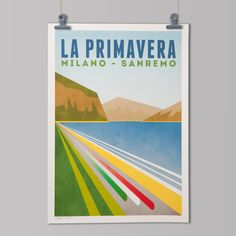 Cycling Art Print 'MilanSan Remo' by TheHandmadeCyclist on Etsy, £25.00