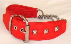 Red leather Martingale dog collar with studs