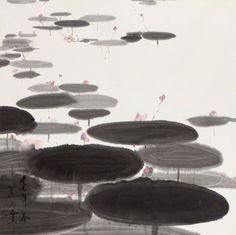 "vjeranski: "" MINOL ARAKI Lotus Pond, 1977 Ink and color on paper 27 × 27 in 68.6 × 68.6 cm """