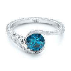Custom Solitaire Blue Diamond Engagement Ring #102752