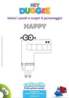 Stampa e unisci i puntini e scopri chi è Happy.