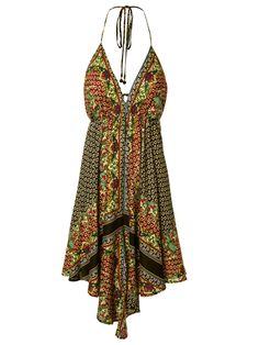 Vestido Lenço Camelo - Farm - Preto e Verde - Shop2gether