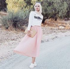 Pink pastel skirt hijab-Modern and fashionable hijab outfits – Just Trendy Girls