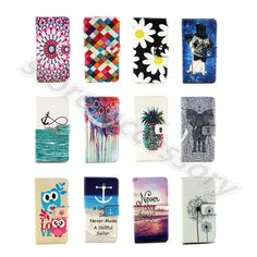 Fashion Design Synthetic Leather Card Purse Stand Flip Case Cover For Phones #D4