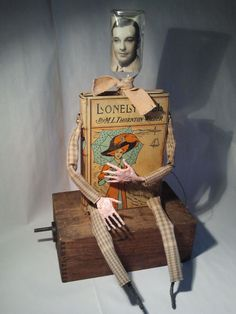 Altered Antique Book Automata Assemblage Sculpture by Bibliomaton, $85.00