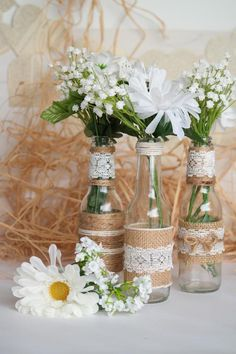 Rustic Burlap Centerpiece Bottle Vases, Wedding or Party Decor, SET of 5 Burlap Centerpieces, Simple Wedding Centerpieces, Bottle Centerpieces, Engagement Party Decorations, Wedding Flower Decorations, Bridal Shower Decorations, Flowers Decoration, Wedding Flowers, Wedding Dresses