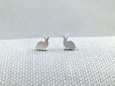 Seen on SilverInTheCity.com: Brushed Silver Bunny Stud Earrings