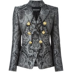 Balmain double breasted paisley blazer (200.935 RUB) ❤ liked on Polyvore featuring outerwear, jackets, blazers, coats, grey, paisley blazer, balmain jacket, double breasted blazer, gray blazer and grey blazers
