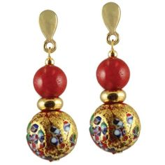 Mosaic Millefiori/Scarlet Venetian Murano Glass Drop Clip On Earrings (833.695 VND) ❤ liked on Polyvore featuring jewelry, earrings, clip on earrings, clip back earrings, murano glass jewelry, murano glass earrings and mosaic earrings
