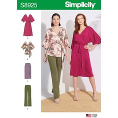 Simplicity Sewing Pattern Misses' Knit Pants, Skirt, Wrap Dress and Wrap Top Mccalls Sewing Patterns, Simplicity Sewing Patterns, Dress Patterns, Apron Patterns, Knit Wrap, Apron Dress, Knit Pants, Kimono Fashion, Fashion Sewing