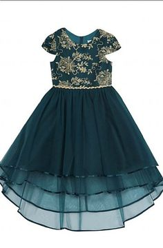 Girls Emerald & Gold Holiday High Low Dress Preorder 4 to 16 Years Bow Heels, Dress And Heels, Dress Shoes, Hi Low Skirts, Girls Christmas Dresses, Rhinestone Heels, Tween Girls, High Low, Bodice