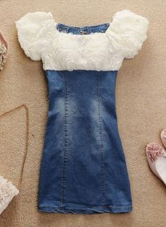 Blue Mini Dress - 3D Rose Denim Mini Dress