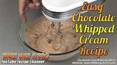 Easy Chocolate Whipped Cream Recipe ★★★►►► OPEN ME FOR MORE INFO ! ◄◄◄★★★ In this fun recipe, I show you how easy it is to make an awesome no fail chocolate . Chocolate Ganache Cake, Chocolate Whipped Cream, Chocolate Buttercream, Recipes With Whipping Cream, Cream Recipes, Pie Recipes, How To Make Cream, How To Make Icing, Ultimate Chocolate Cake