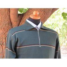 Wool Acrylic Quarter-Zip Striped Sweater - Brown Brown Sweater, Zip Sweater, High Collar, Cable Knit, Rib Knit, Knitwear, Dress Up, Pullover, Wool