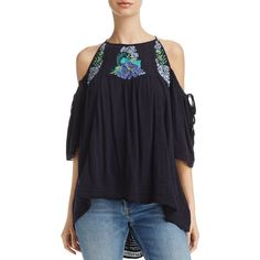 73874b82cb22a0 Free People Fast Times Embroidered Cold Shoulder Top ( 81) ❤ liked on Polyvore  featuring