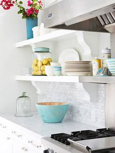 Wonder if I can convince the hubby to have a bit of open shelving in the kitchen?