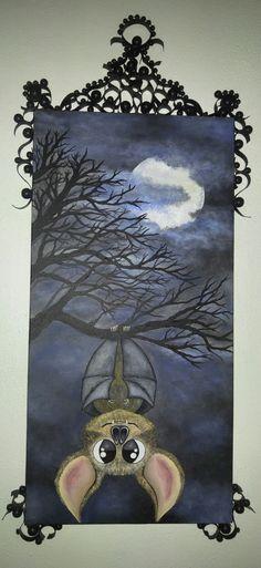 #acryliccustompainting #bat #creepytrees #moon #acrylicart #artbymelissaclarke