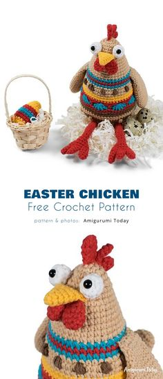 Easter Crochet Patterns, Crochet Patterns Amigurumi, Easter Chickens, Free Crochet, Crochet Hats, Learn To Crochet, Crochet Things, Amigurumi Tutorial, Crochet Animals
