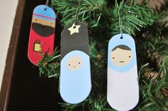 FREE Downloadable ornaments to print.  There are some Santa ones but also a simple nativity that would be awesome for kids.  You could paint something similar on popsicle sticks, too.
