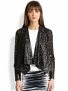 MILLY Draped Laser-Cut Leather Jacket