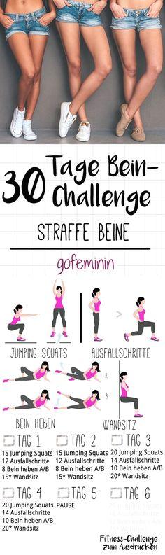 Die ganze Challenge gibt's zum Ausdrucken bei gofeminin.de. Startet jetzt mit dem Kurze-Hose-Training für den Sommer - mit der 30-Tage-Bein-Challenge!  #fitnessworkouts