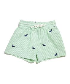 Take a look at this Green Whale Seersucker Swim Trunks - Infant, Toddler & Boys on zulily today!