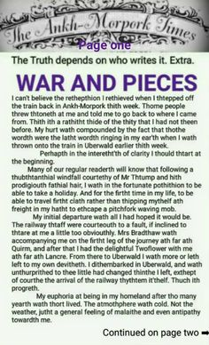The Ankh-Morpork Times. The Truth depends on who writes it. Extra.  WAR AND PIECES. page one. by David Green.