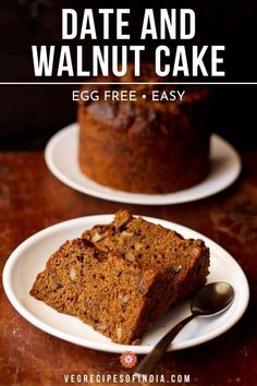 date and walnut cake recipe. a very easy and tasty recipe of eggless date and walnut cake. even a beginner in baking can make this cake easily. Date And Walnut Cake, Coffee And Walnut Cake, Coffee Cake, Healthy Cake Recipes, Healthy Baking, Dessert Recipes, Vegetarian Recipes, Homemade Ciabatta Bread, Eggless Baking