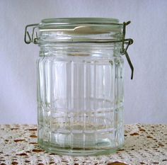 Clear Cut Glass Canning Jar Metal Wire Bale Lid by GSaleHunter