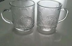 Vintage KIG Malaysia Set 2 Clear Glass Coffee Mugs Palm Trees Hibiscus Pattern